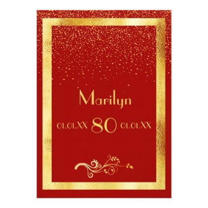 80th Birthday Party Invitation Card Red Gold
