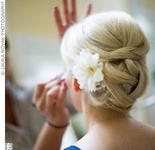 fancy hair - leigh likes this one for me b/c smaller flower & bun not out of control