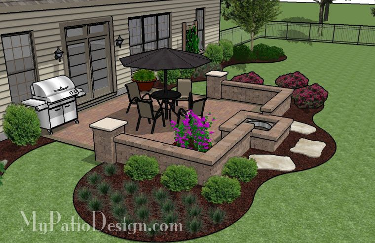 320 Sq Ft Diy Square Patio Design With Seat Wall And Fire Pit