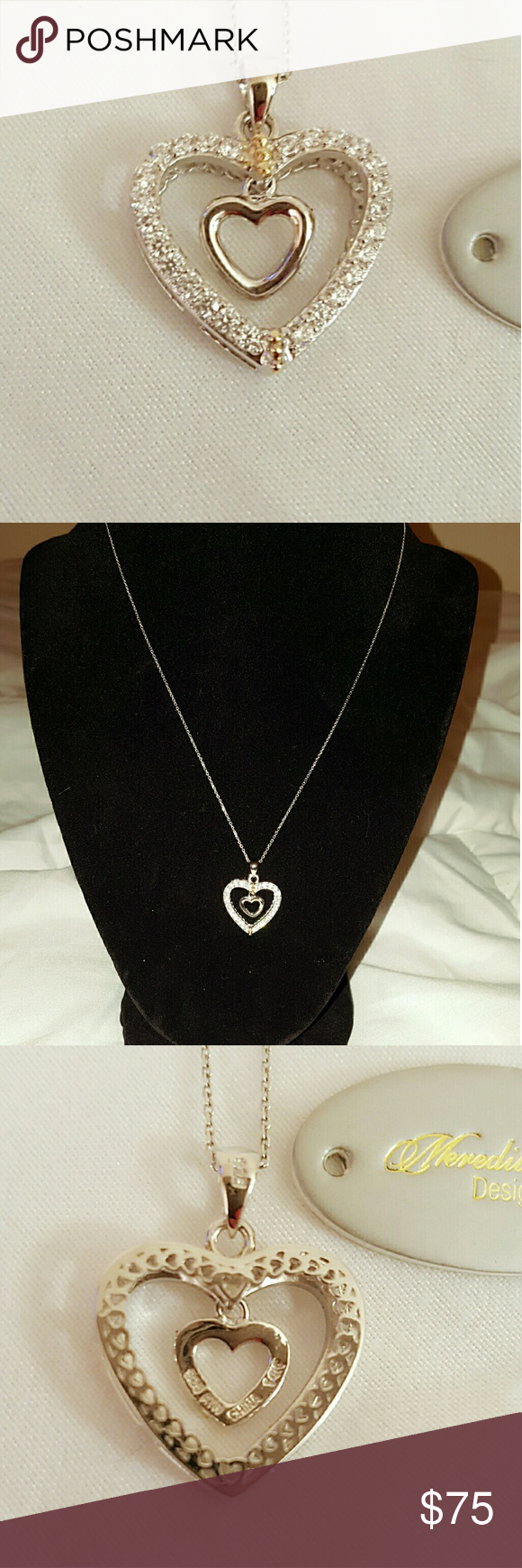 Beautiful CZ Heart Sterling & 14k Gold Necklace New Gorgeous ...