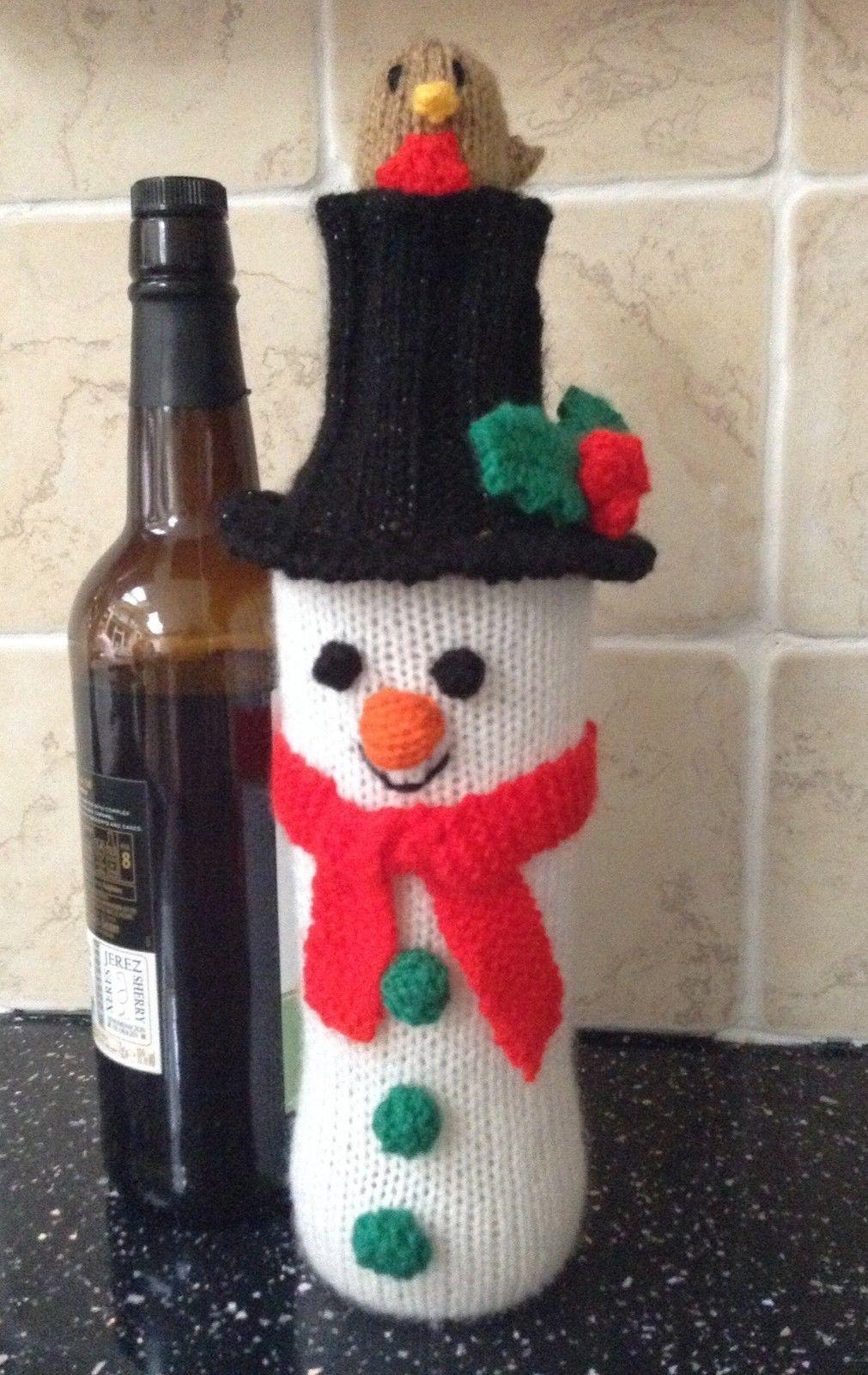 2.99 GBP - Knitting Pattern - Christmas Snowman Wine Bottle Cover ...