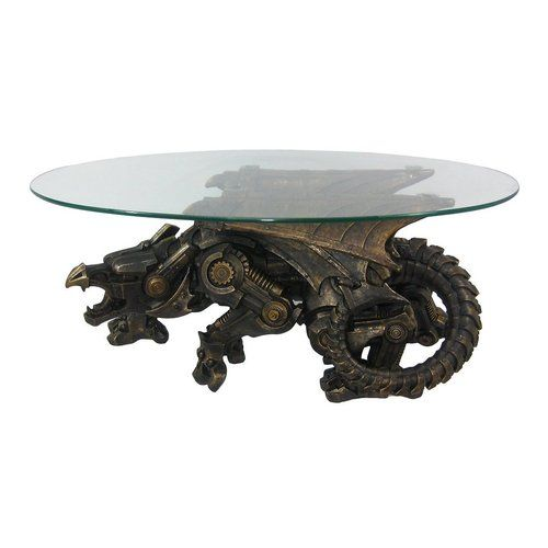 Bronze Finish Steampunk Dragon Glass Top Table By Things2Die4