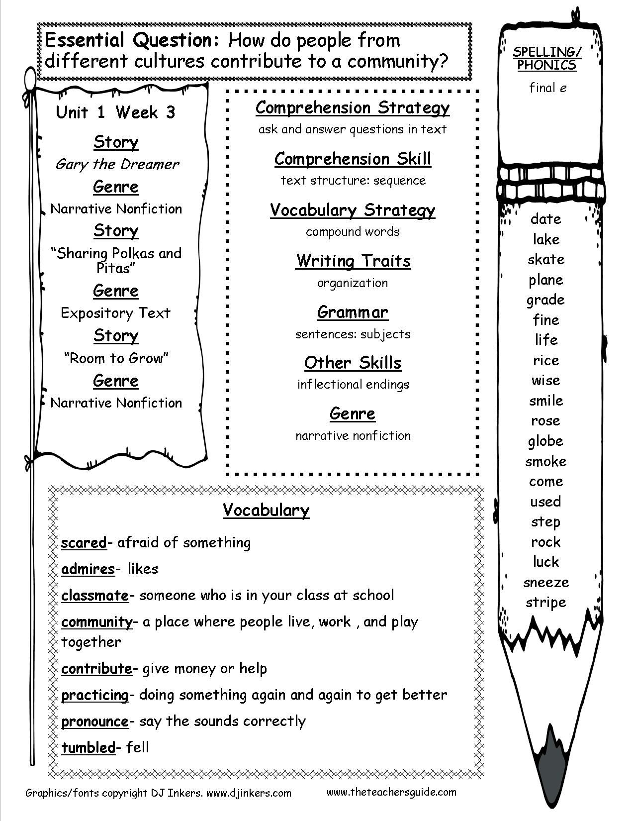 Mcgraw Hill Wonders Third Grade Weekly Outline With