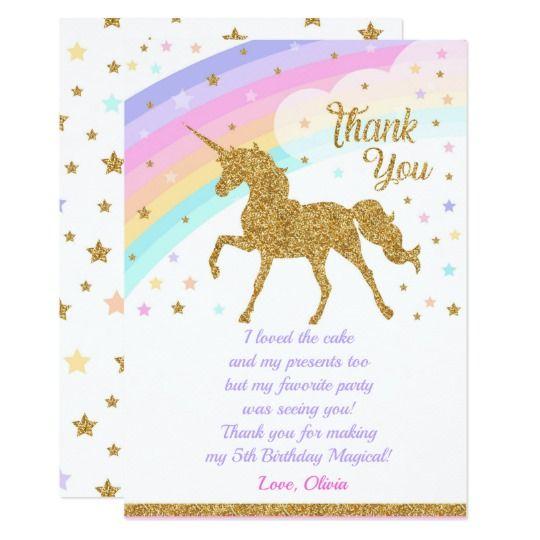 unicorn thank you card birthday thank you card  zazzle