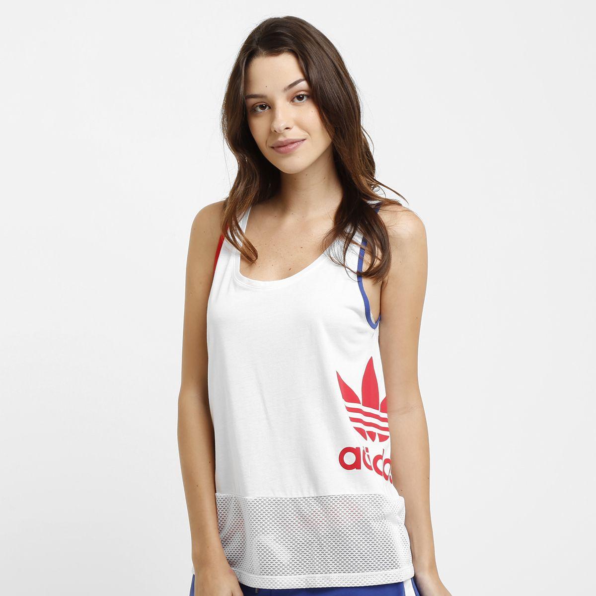 60aa8f077216a Camiseta Regata Adidas Originals La Logo Top - Branco