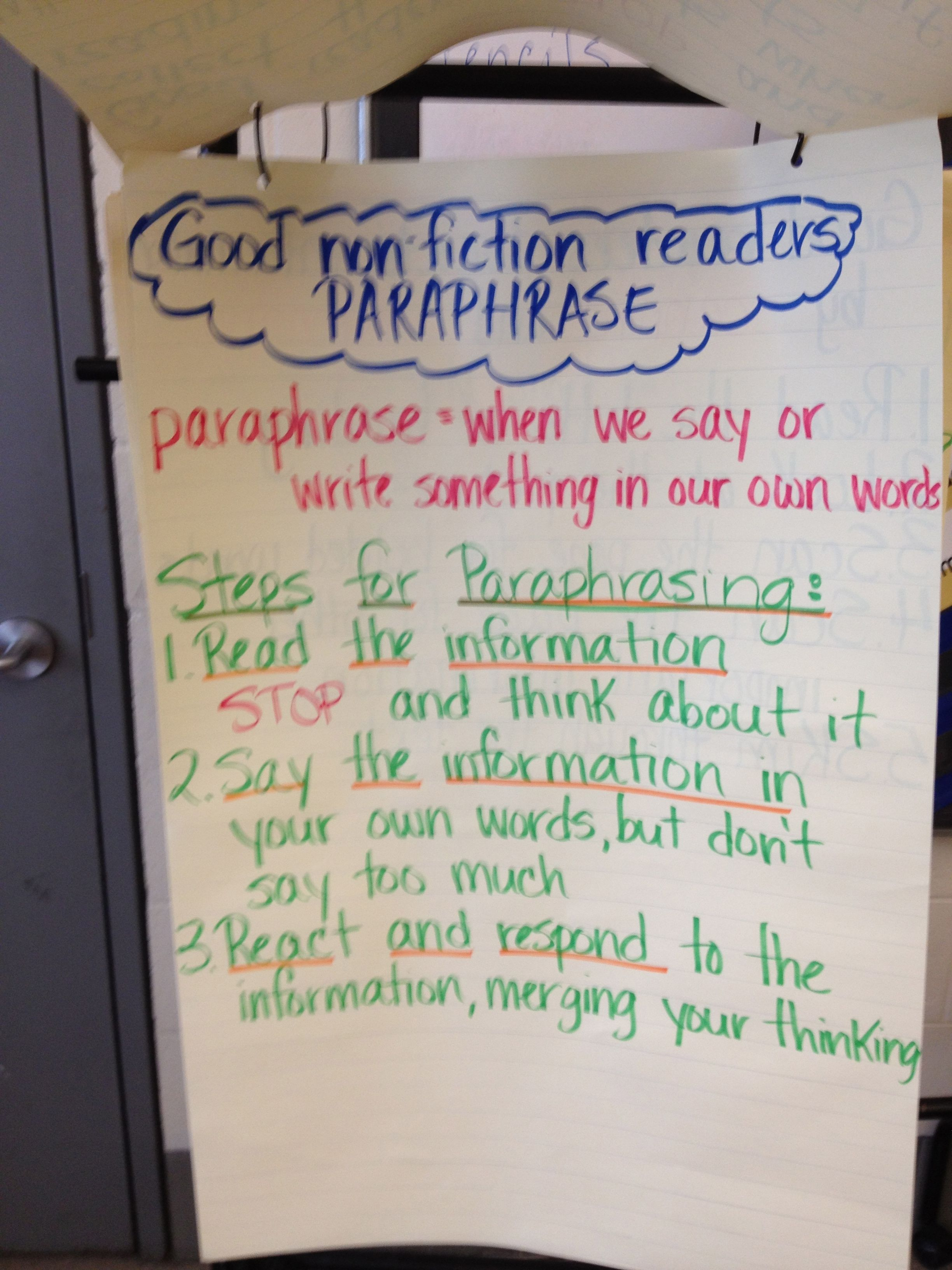 Paraphrasing 6th Grade Writing Classroom Anchor Charts Career Option Paraphrase