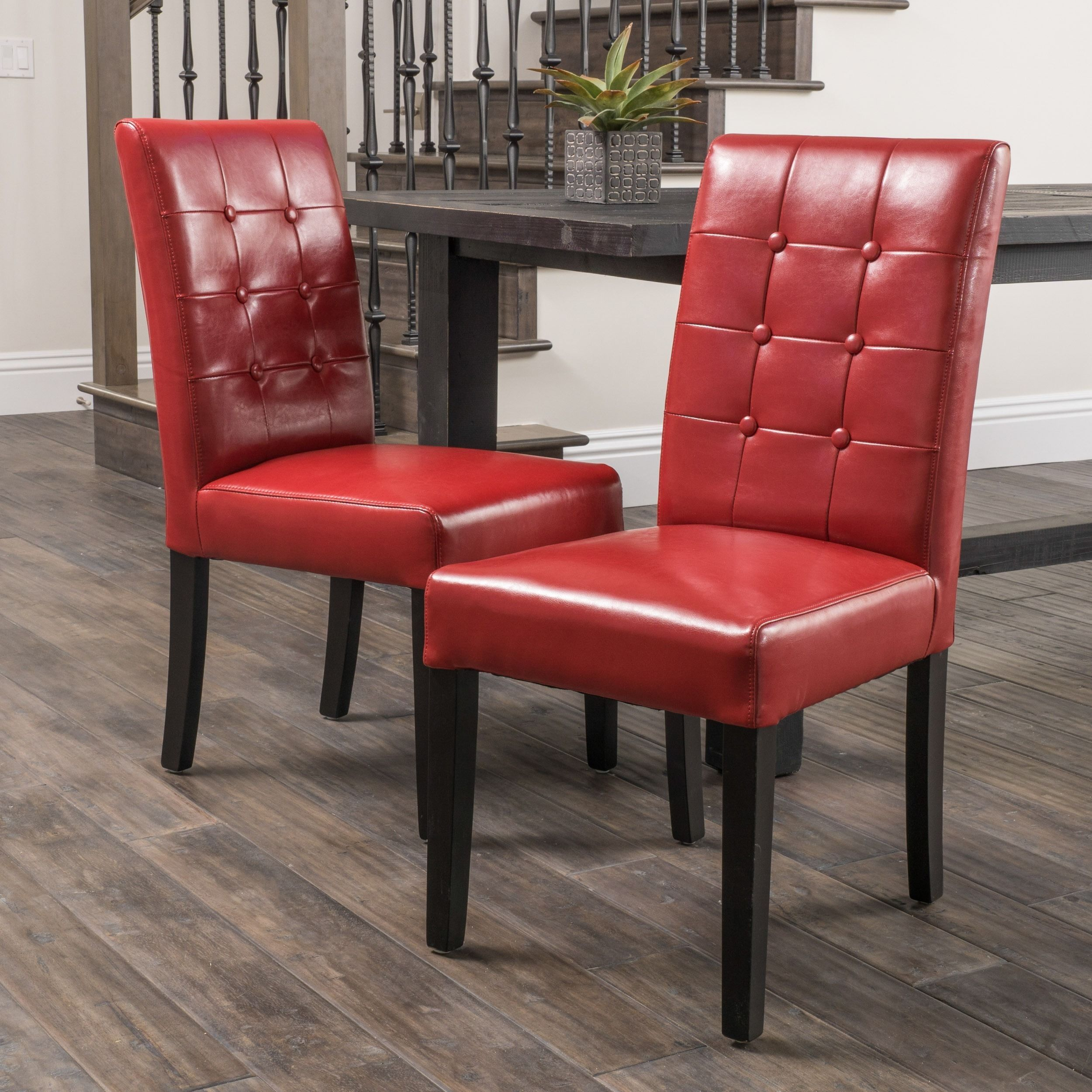 Roland Red Bonded Leather Dining Chairs By Christopher Knight Home Set Of 2 Chair