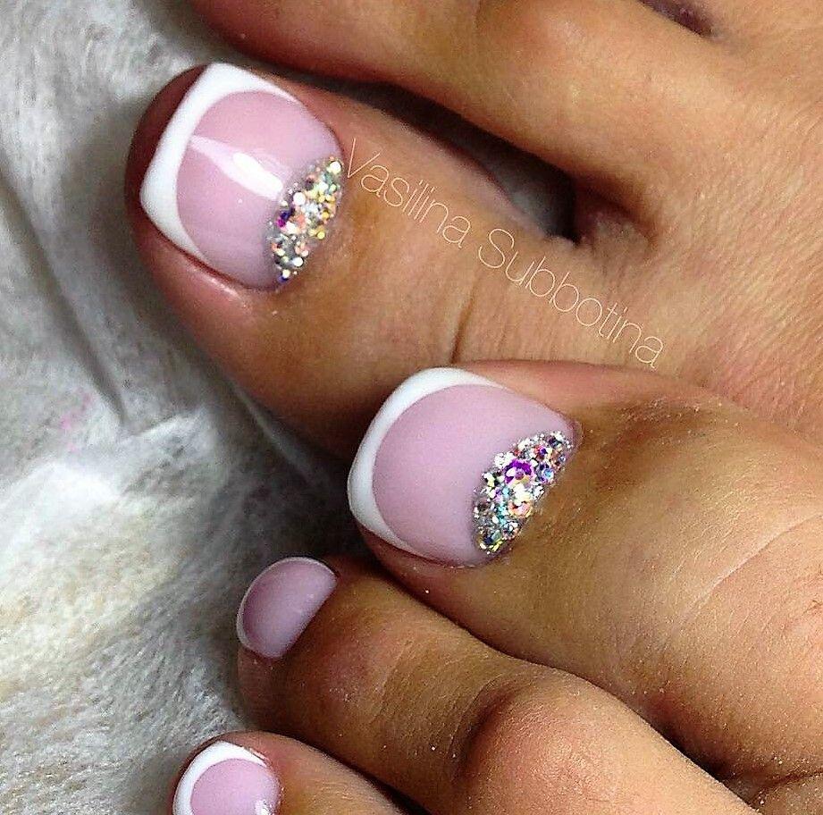 French sparkly Toe nails | TOE NAIL ART | Pinterest