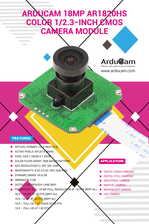 Arducam 18mp Ar1820hs Color 1 2 3 Inch Cmos Camera Module Colour Camera Camera Digital Video Camera