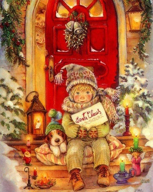 Днем, открытки с рождеством рисованные