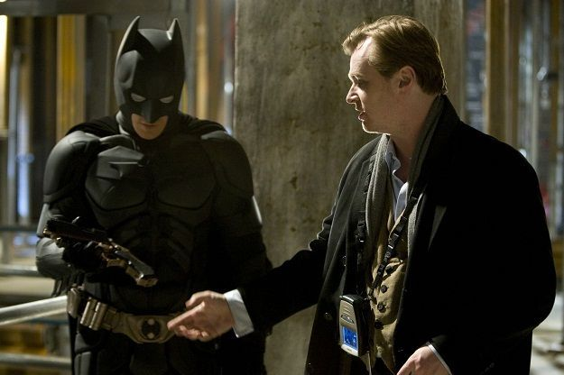 Christopher Nolan directing Christian Bale in a scene from The Dark Knight