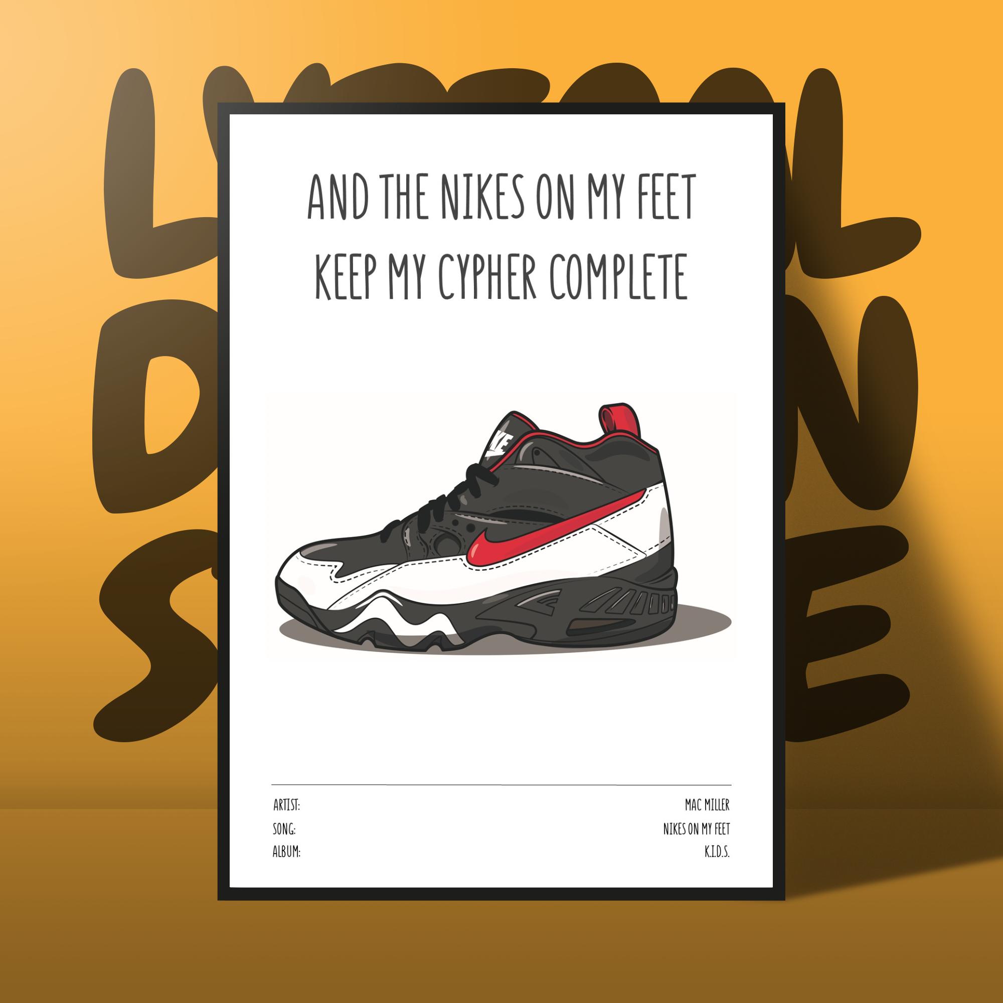 Mac Miller Poster Nikes On My Feet Etsy Mac Miller Nike Art Nike