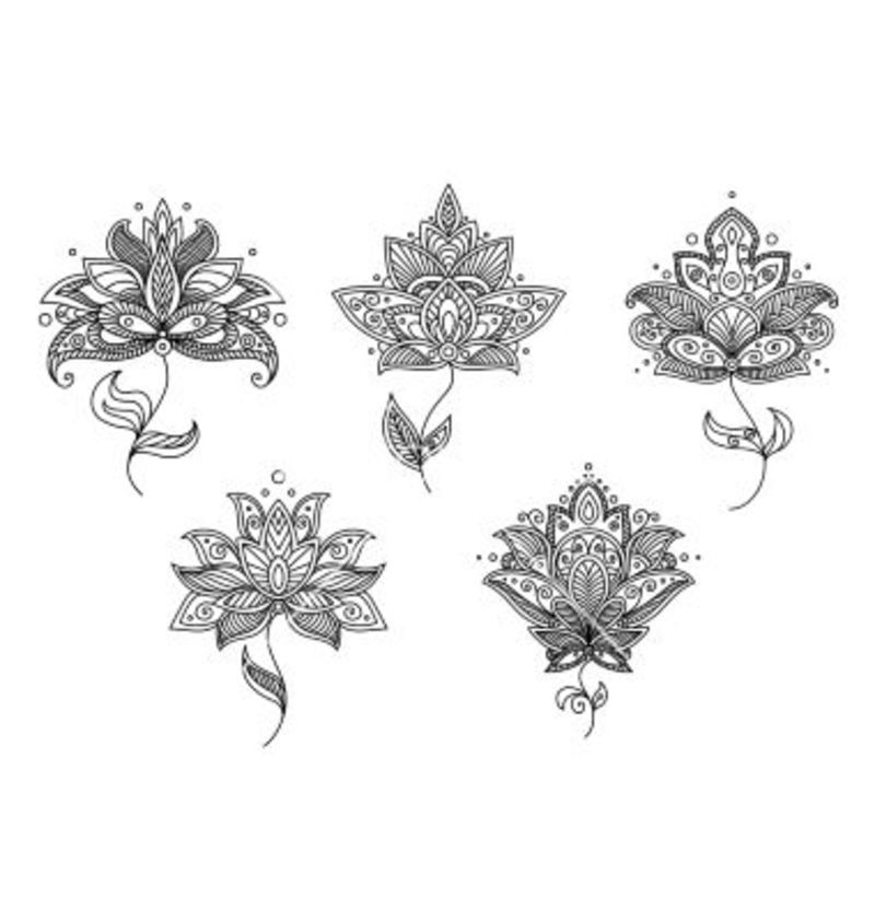 Lotus Flower Henna Designs: Black And White Floral Motifs Of Persian Style Vector