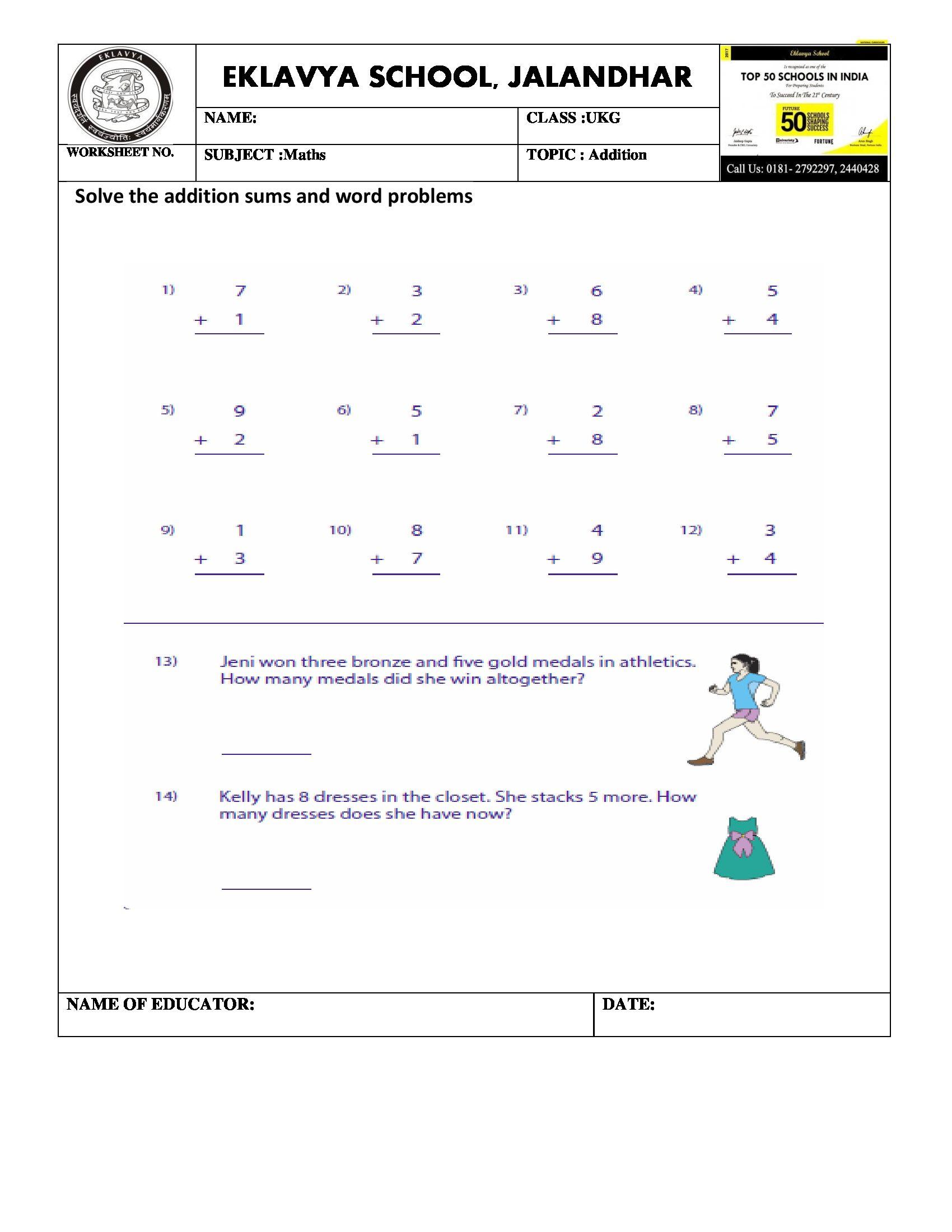 Worksheet On Addition