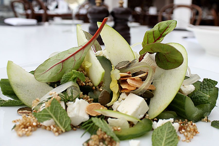 Quinoa, cucumber, feta (optional) and mint salad - Quinoa, the wonder food, is a slow releasing carb to keep you going all day