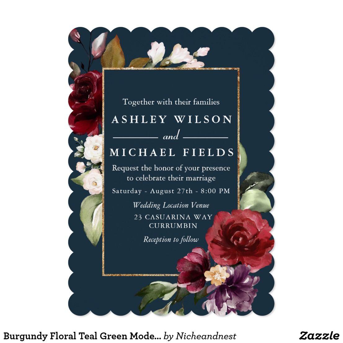 Burgundy Floral Teal Green Modern Wedding Invitation
