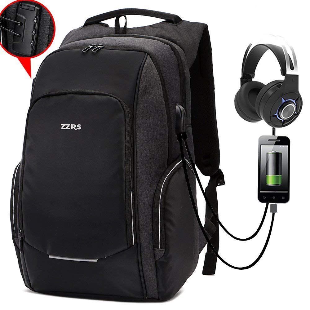 Men Travel Backpack Rucksack Anti-theft USB Charging Laptop Notebook School Bag