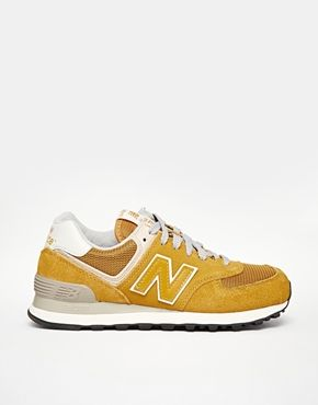 Enlarge New Balance 574 Yellow Suede/Mesh Trainers ...