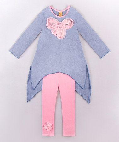 Look what I found on #zulily! Blue & Pink Bow Sidetail Tunic & Leggings - Toddler & Girls #zulilyfinds