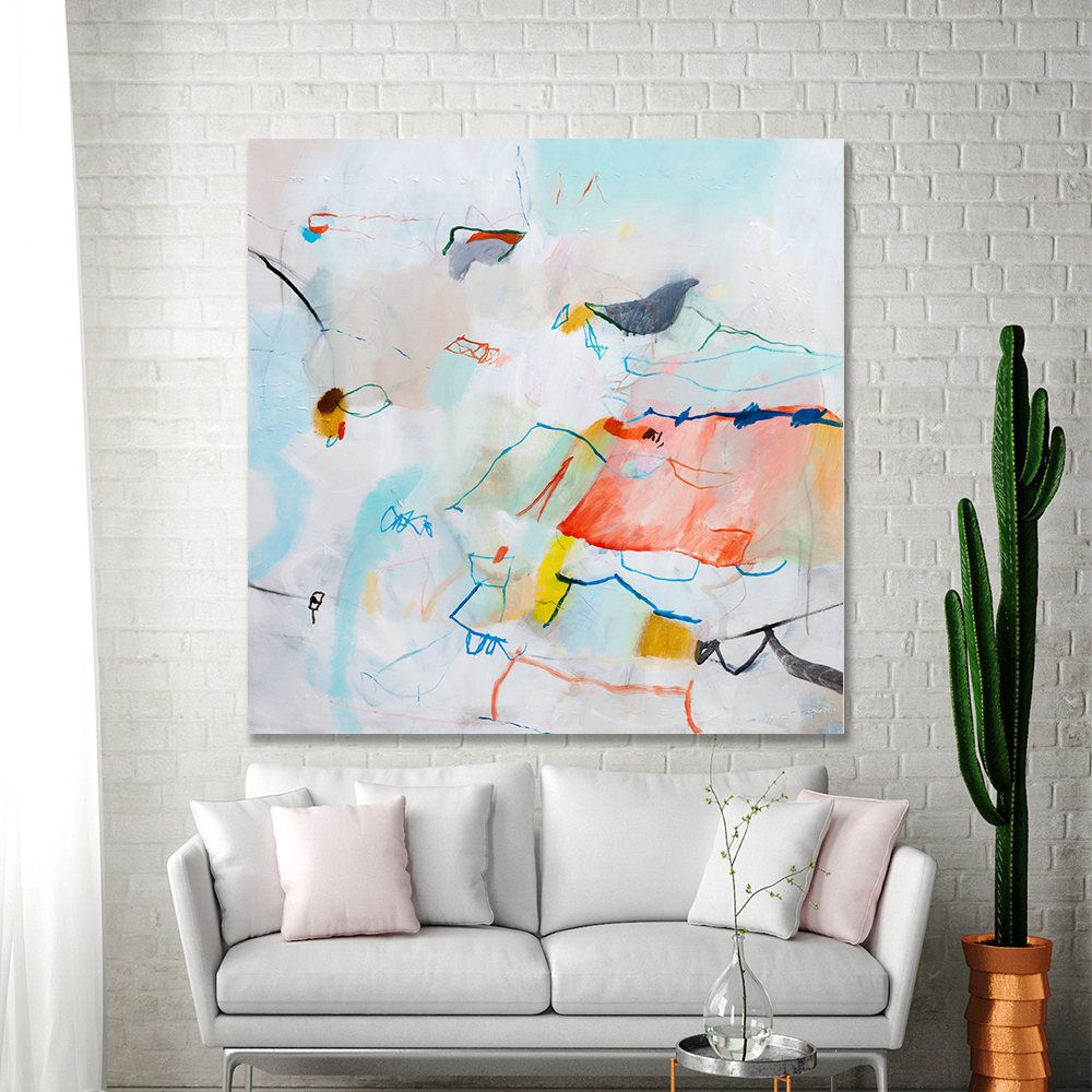 Large Abstract Painting Multicolor Colorful Modern Art Large Wall Art 36x36 Aqua Coral Pink Fun Bird Canvas Art By Duealberi Abstract Paintings Large Wall A Colorful Abstract Art Abstract