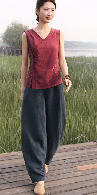 Vintage Sleeveless Cotton Linen Vest Women Cool Tops S1673 #womenvest