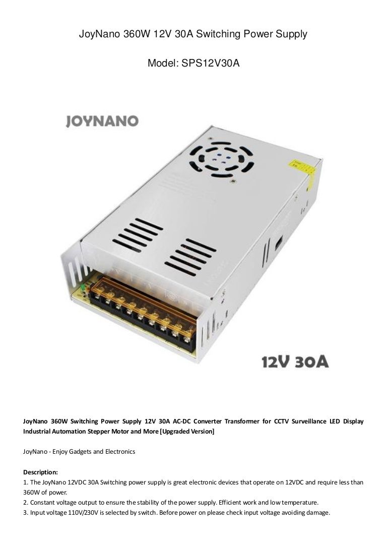 Joynano 360w Switching Power Supply 12v 30a Ac Dc Converter Transform Computer Projects Power Supply Strip Lighting