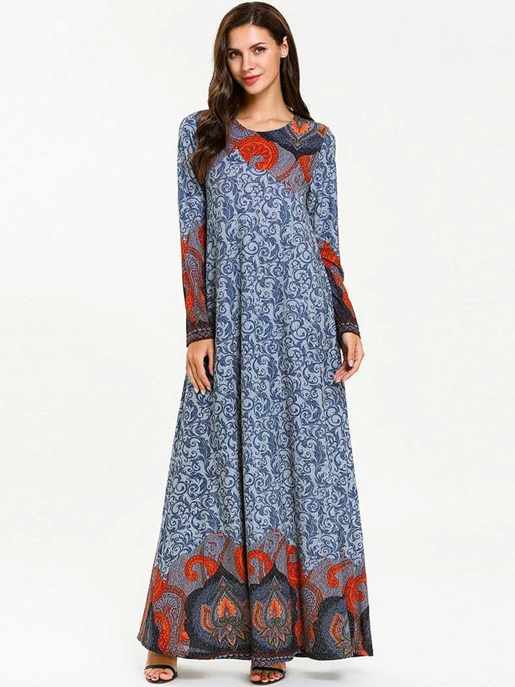Photo of Printed long sleeved casual Muslim dress