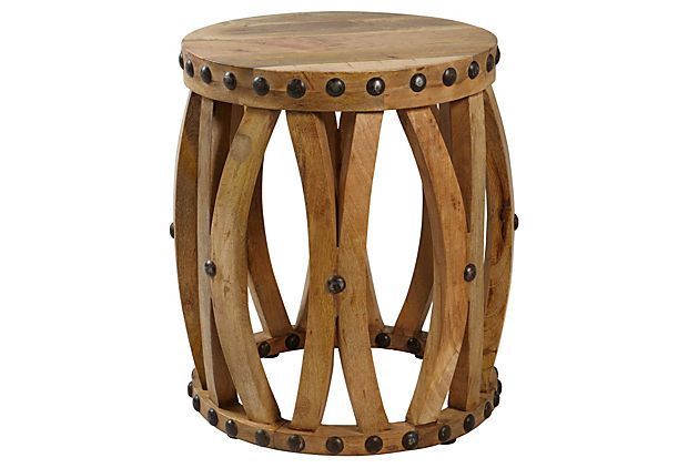 Farley Side Table / Mango Wood And Metalic Accents