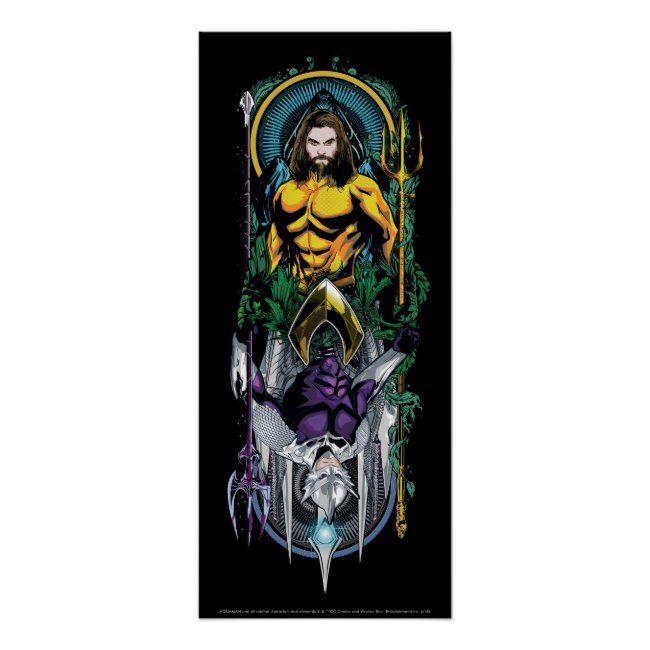 Aquaman  Orin & Orm Reversible Art Nouveau Panel Poster ,