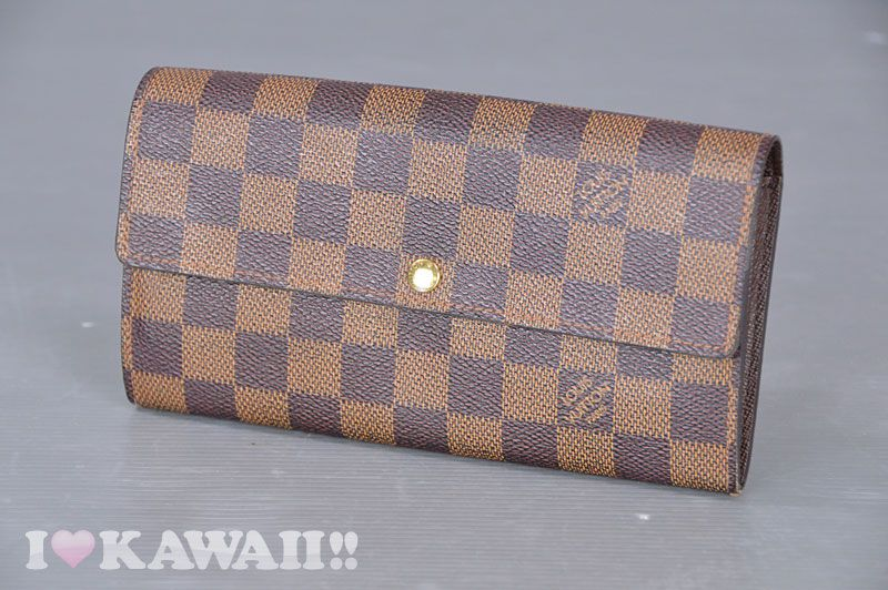efff272fd90b Authentic Louis Vuitton Damier Ebene Porte Feuille Sarah Wallet N61734