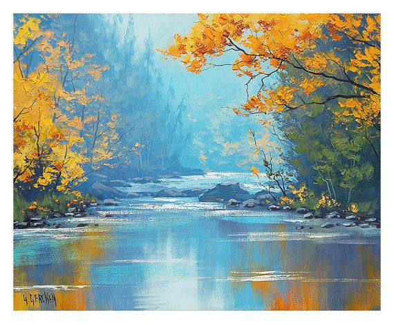Misty River Misty Painting River Painting Misty Scene River Oil Painting By G Gercken Pinturas Pintura Al Oleo Pintura Al Oleo Realista