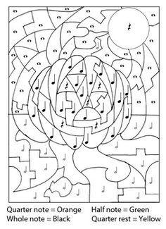 Color By Music Jack O Lantern Halloween Coloring Halloween Coloring Pages Halloween Kids