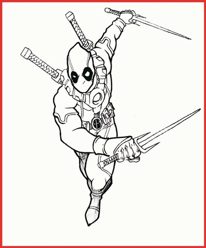 Free Deadpool Coloring Pages pdf. Just click on one of the
