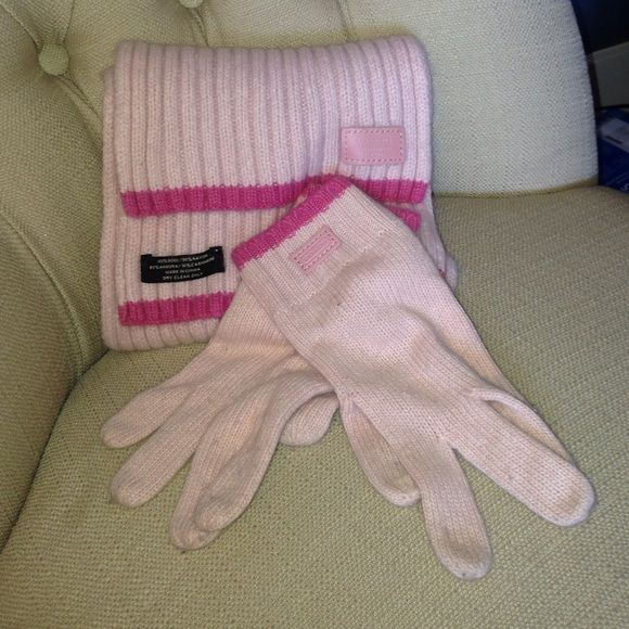 Coach pink scarf and glove set Coach pink scarf and glove set Coach Other
