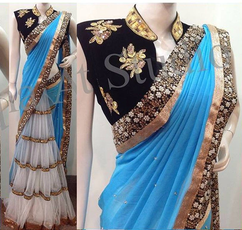 Wedding White Sarees Online: Sky Blue & White Net Color Georgette Designer