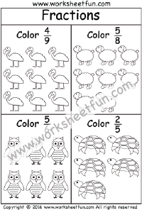 math worksheet : coloring fractions  3 worksheets  fraction worksheets  : Math Fraction Coloring Sheets