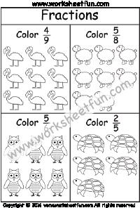 Coloring Fractions – 3 Worksheets | Fraction Worksheets | Pinterest ...