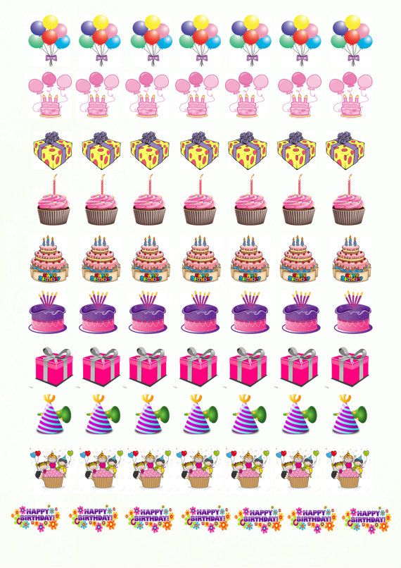 70 Printable Birthday Stickers 1 39 39 Free Printable Planner Stickers Happy Planner Stickers Planner Printables Free