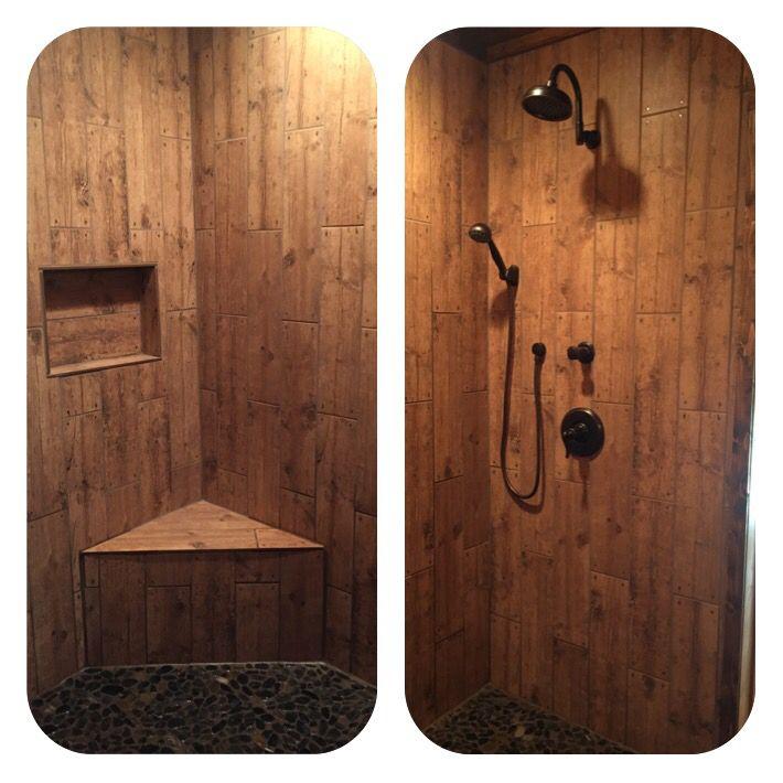 Wood grain tile shower with corner bench. Wood tile shower. Rustic tile  shower. - Wood Grain Tile Shower With Corner Bench. Wood Tile Shower. Rustic