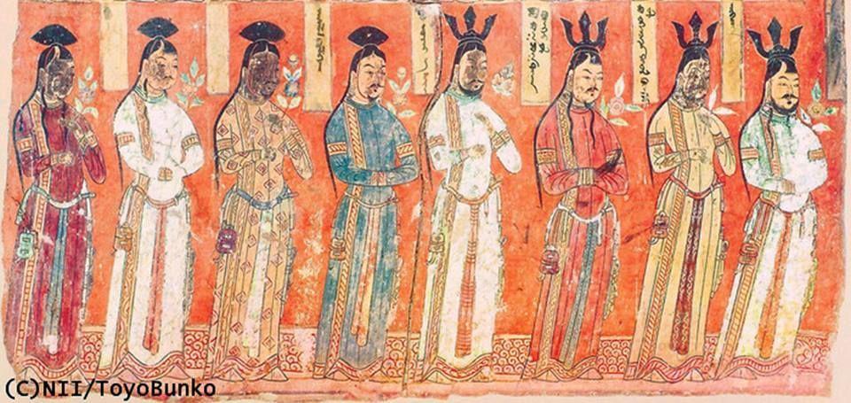 Doğu Türkistan Bezeklik Mağarasındaki, Budist Türk Uygur Beyleri. Ellerinde Lotus, Hayat Çiçeği tutarlar. Kaftanlarındaki Pazubantlar, Kemerleri ve kemerlerine astıkları mendil, yelpaze, çanta vb. Türk Giyim özelliğidir. Bir ayrıntı, Bezemek Türkçe süslemek ile eş anlamlıdır. Bezeklik, Bezenmiş yani Süslenmiş-Süslü anlamındadır.