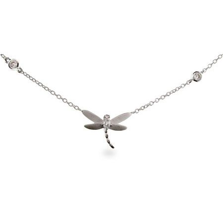 Sterling Silver Dragonfly Necklace on Bezel Chain