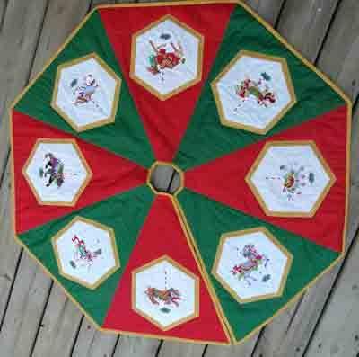 Carousel Christmas Tree Skirt - Delightfully embroidered Carousel