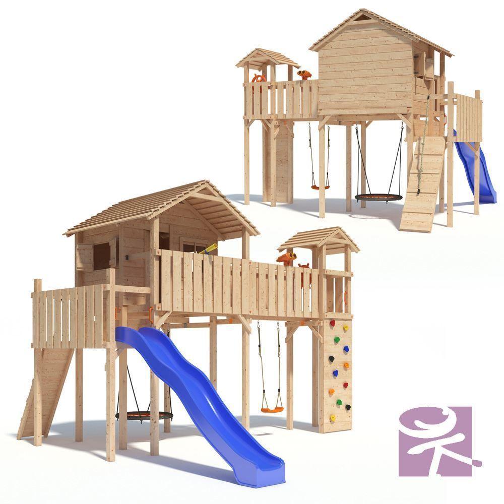Best PONTICULUS Spielturm Stelzenhaus Baumhaus Rutsche Schaukel Meter Podesth he in Garten u Terrasse