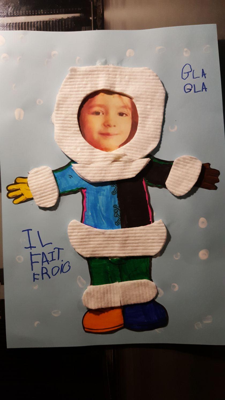Portrait d'hiver : activité manuelle sur le thème du froid