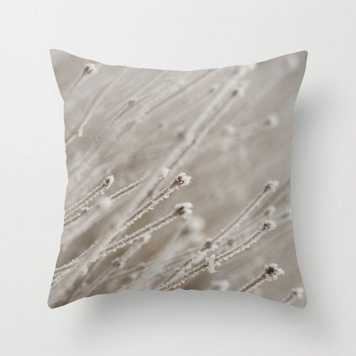 Hoarfrost Throw Cushion Cover To Accent The Entrance Bench For Winter Photo Pillows Pillows White Throw Pillows