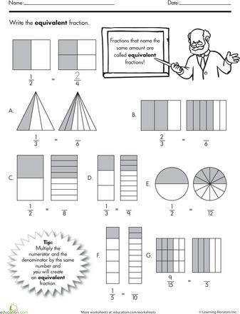 Equivalent Fractions Equivalent fractions and Worksheets