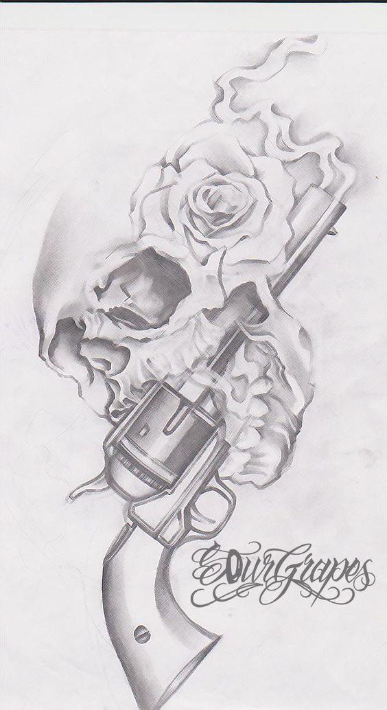 Gun n Roses Skull Tattoo Drawing | Tattoobite.com