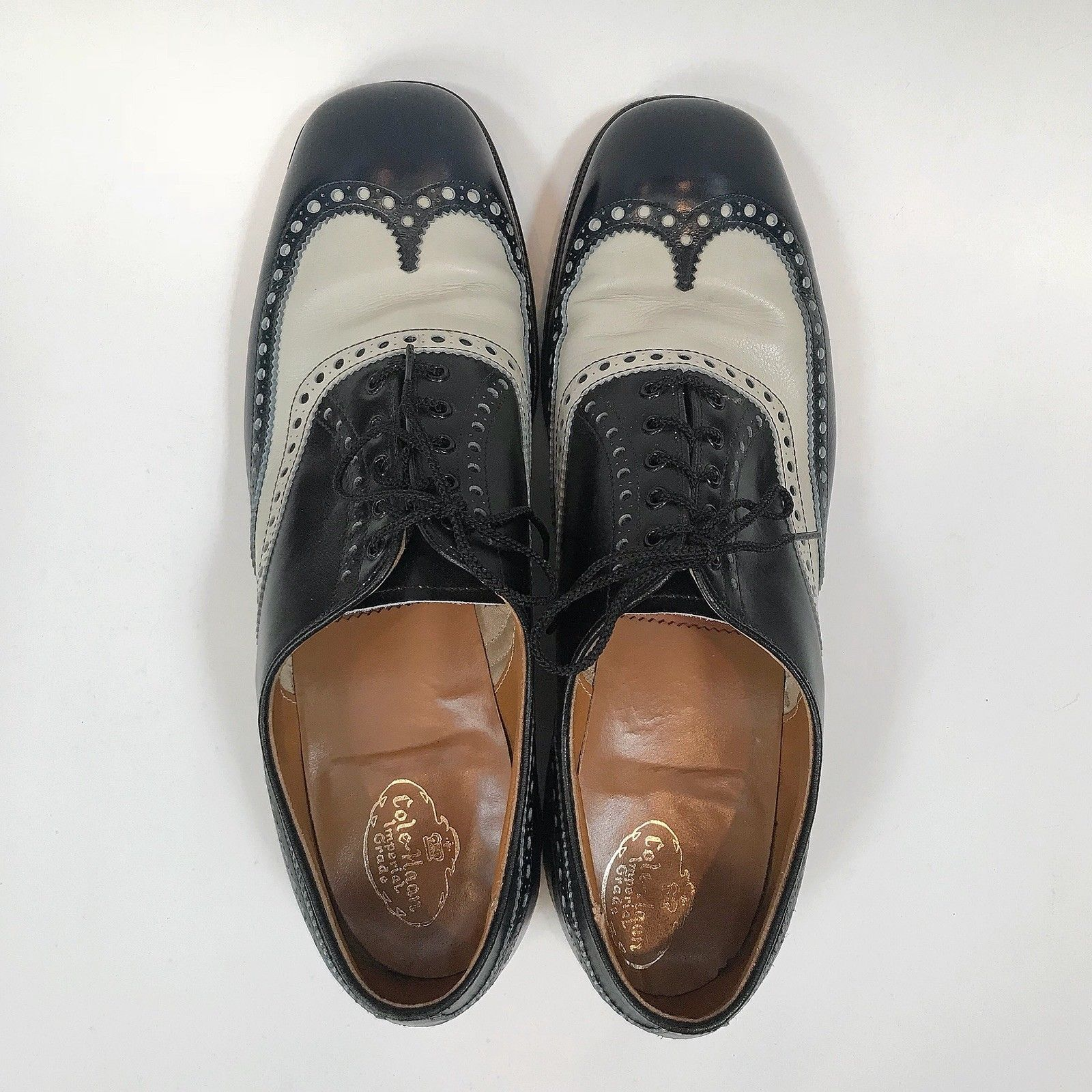 Men's Vtg Cole Haan Oxford Wingtip Gatsby Dress Shoes & Box Size 11 1970s