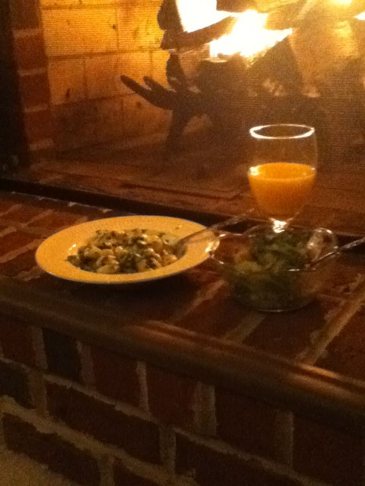 My dinner in front o the fire!