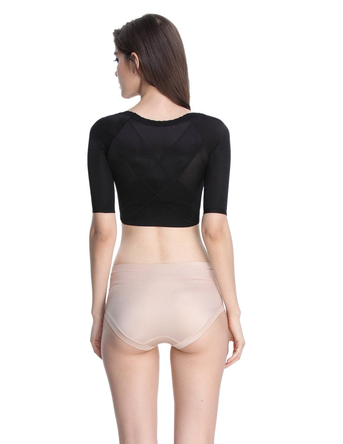 690fb644440 Shymay Womens Shapewear Tops Wear Your Own Bra Short Sleeve Crop Top Arm  Shapers Black Tag